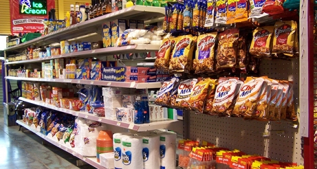store chips and food items